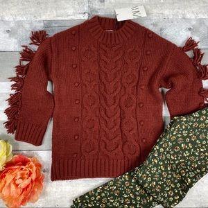 Zara kids cable knit fringe sweater 8